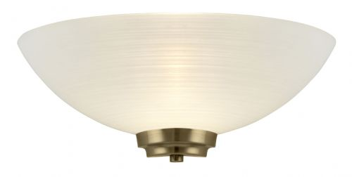 1 Light Wall Light In Antique Brass + Frosted Glass Shade BXWELLES-1WBAB-17 (Double Insulated)